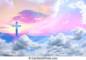 elhomályosul, kereszt, krisztus, gyönyörű, jézus