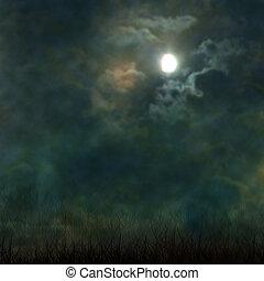 elhomályosul, temető, kísérteties, mindenszentek napjának előestéje, hold, sötét, baljóslatú