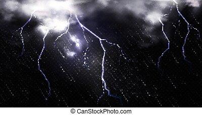 elhomályosul, villámlás, ég, éjszaka, eső
