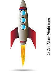 elindítás, piros rakéta