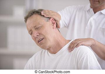 elintézés, hátgerincmasszázzsal gyógyító, nyak, chiropractic: