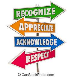 elismer, respektál, cégtábla, értékelés, ábra, acknowledge, 3