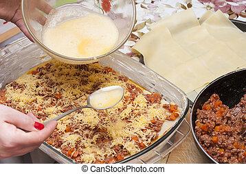 eljárás, főzés, lasagna
