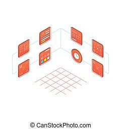 eljárás, isometric, ikonok