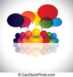 eljegyzés, hivatal emberek, kommunikáció, megbeszélések, gyerekek, bot, &, média, is, munkavállaló, gyűlés, gyerekek, kölcsönhatás, tanácskozás, őt előad, grafikus, társalgás., beszéd, vektor, társadalmi, vagy