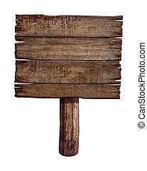 elkészített, öreg, fából való, wood., aláír, board., állás, bizottság