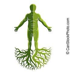 elkészített, ősi, ember, isten, concept., atlétikai, fa, kelta, roots., vektor