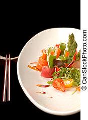 elkészített, aprófa, japán, sashimi, csapás, frissen