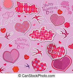 elkészített, elhomályosul, szerkezet, bíbor, motívum, piros, valentines, seamless, nap, tarka, háttér, madarak