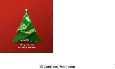 elkészített, fa, szikra, dolgozat, zöld háttér, karácsony, piros