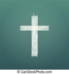elkészített, grunge, elszigetelt, ábra, kereszt, cross., háttér., vektor, zöld, húzott, egyenes, kéz, pencil.