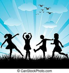 elkészített, gyerekek, körvonal, kéz, fű, játék