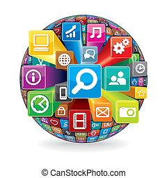 elkészített, ikonok, média, gömb, számítógép, társadalmi