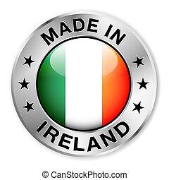 elkészített, jelvény, ezüst, írország