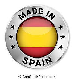 elkészített, jelvény, ezüst, spanyolország