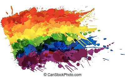 elkészített, színes, buzi, lgbt, lobogó, loccsan, vagy