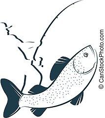 elkap, fish, árnykép, halász