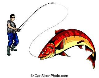 elkapott, halász, árnykép, fish, vektor, ábra