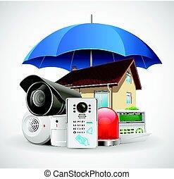 ellenőrzés, esernyő, épület, -, rendszer, belépés, védett, saját értékpapírok