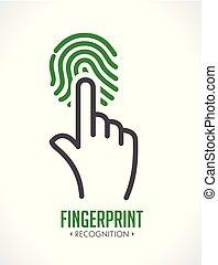 ellenőrzés, fogalom, -, rendszer, belépés, ujjlenyomat, jel, elismerés, biometric
