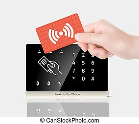 ellenőrzés, közelség, kártya, -, belépés