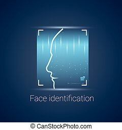 ellenőrzés, letapogatás, fogalom, modern, rendszer, arc, belépés, azonosítás, technológia, elismerés, biometric