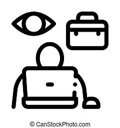 ellenőrzés, munkavállaló, ikon, áttekintés, ábra, vektor