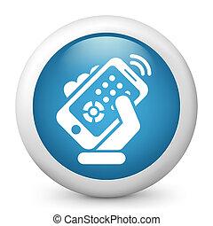 ellenőrzés, smartphone, távoli, ikon