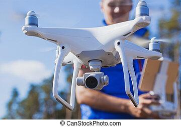 ellenőrzés, távoli, copter., repülés, bábu, hands.
