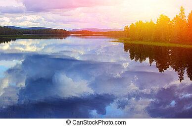ellen, blue tó, ég, elhomályosul, visszaverődés, csendes, fehér