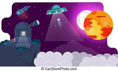 ellen, elmenő, ábra, hegyek, háttér, bolygók, fogalom, látcső, vektor, lakás, csillagvizsgáló, ufo, tervezés, őrzés, rádió