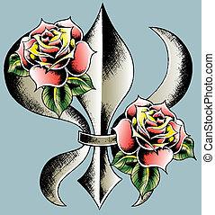 ellen-, embléma, pajzs, fleur, lis