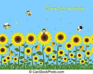 ellen, méhek, illustration., gyűjtés, seamless, fű, határ, nektár, napraforgók, sárga zöld, kék, vektor, sky., horizontális