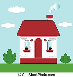 ellen, szabadban, style., ábra, pázsit, zöld blue, közben, villaház, bokrok, nap, épület, sky., lakás, vektor