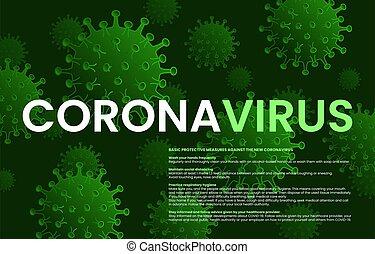 ellen, vírus, alapvető, korona, oltalmazó, concept., china., coronavirus., covid-19, lépés, wuhan