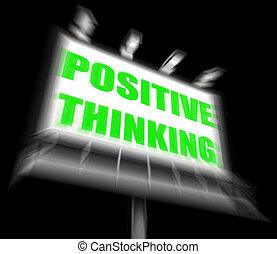 elmélkedés, gondolkodó, pozitív, aláír, optimista, kitesz