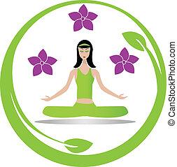 elmélkedés, leány, jóga