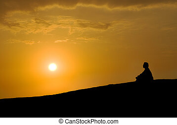 elmélkedés, napnyugta, alatt
