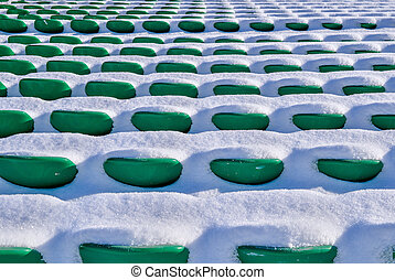 elnökké választ, stadion, tél, háttér