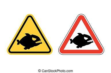 elnevezés, andocean., tengerpart, figyelem, predator., kockázat, állhatatos, tengeri, veszélyes, piranha., symbols., tenger