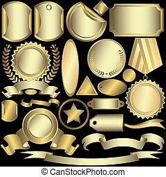 elnevezés, arany-, (vector), állhatatos, ezüstös