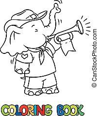 elpirul beír, kevés, elephant., csecsemő, felderítő, tábor
