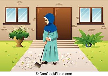 elsöprő változás, szemét, nő, ábra, muzulmán