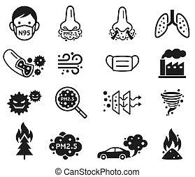 első miniszter, vektor, leporol, 2.5, micro, icons., illustrations.