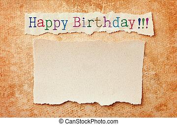 elszakadt, grunge, élsít, születésnap, háttér., újság kártya, boldog