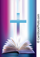 elszelelő, nyit bible, kereszt