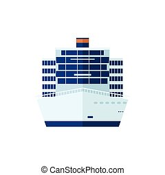 elszigetelt, ábra, elülső, háttér, cirkálás, kilátás, hajó, fehér