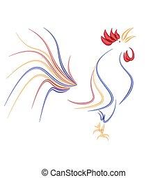 elszigetelt, ábra, kakas, stilizált, háttér., piros, tüzes, fehér, 2017, rooster.
