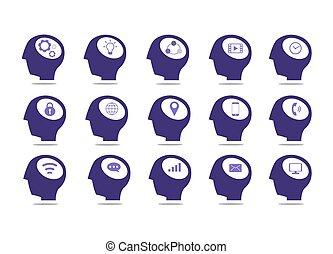 elszigetelt, állhatatos, icon., fehér, háttér., ikon, kommunikáció, fej
