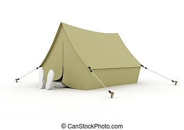 elszigetelt, alvás, kempingező, sátor, fehér, ember, 3